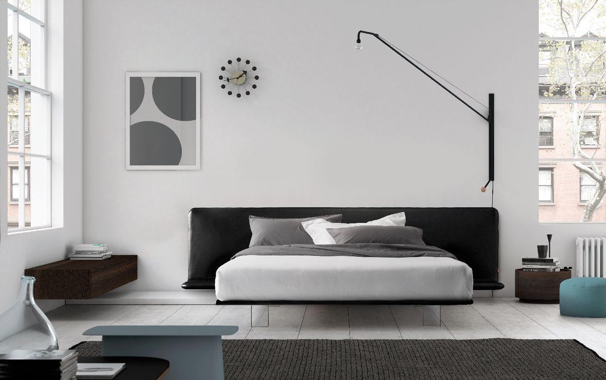 Filo bed, Cama con marco tapizado, patas de metacrilato