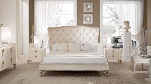 George alto cama, Cama con cabecero copetudo y aluminio pies