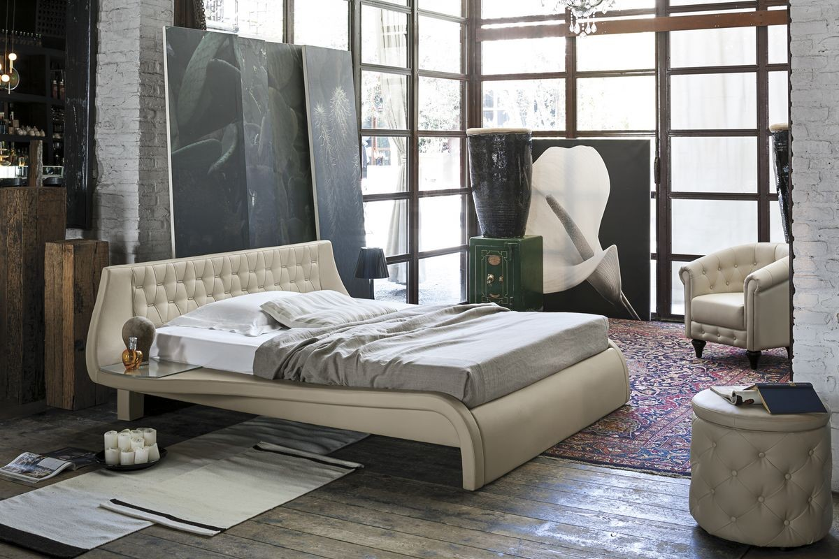 Cama doble con cabecera tapizada para dormitorios modernos | IDFdesign