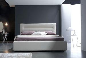 Grace cama de matrimonio, Cama con caja, tapicería de cuero