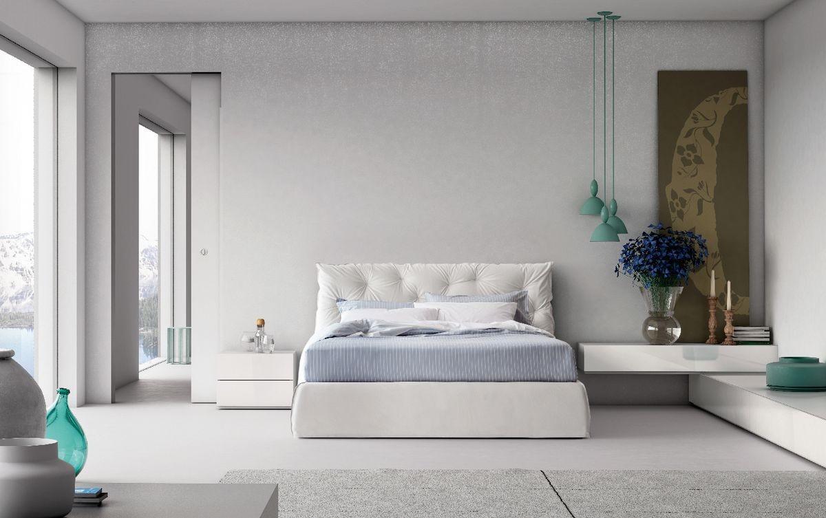 Cama doble de estilo contemporáneo con cabecera tapizada | IDFdesign