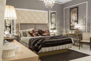 Miami cama, Cama elegante con cabecero tapizado.