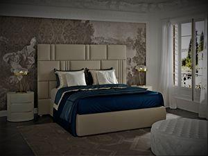 Myfair cama, Cama tapizada en cuero, acabado en gris turquesa.