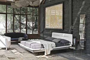 PANAREA BD445, Cama doble con cabecera tapizada ideales para dormitorios modernos