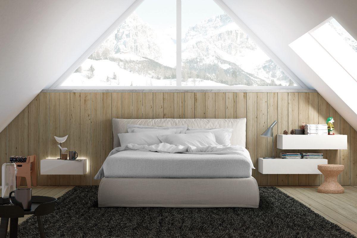Cama de estilo moderno, con cabecero y armazón de la cama acolchado ...
