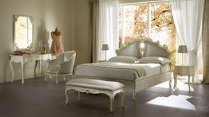 Sissi cama tapizada, Cama tapizada de madera maciza, para hoteles de lujo