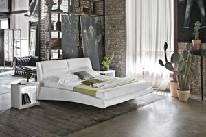 STROMBOLI BD439, Cama doble con cubierta de cuero para los dormitorios modernos