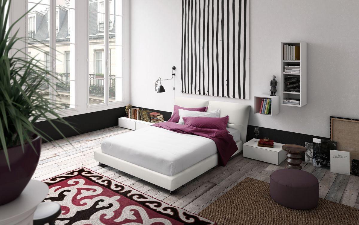 Vintage, Cama design, marco de cama de madera, reclinables cabecera acolchada