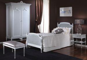 3650 CAMA, Cama individual con cabecera y pie de cama en la caña de Viena, talladas a mano, con un estilo clásico Luis XVI