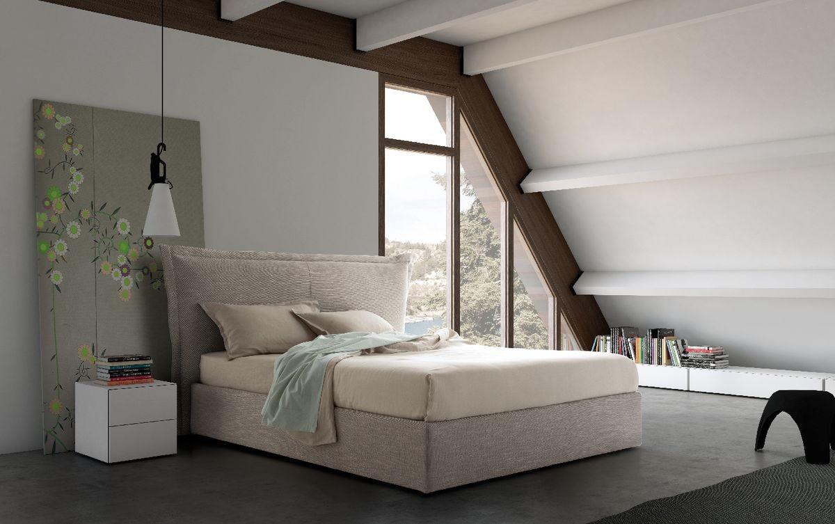 Cama doble con cabecera tapizada y sommier de altura | IDFdesign