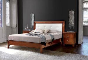 Art. 396 Vivre cama, Cama clásica tallada, con cabecera tapizada en piel