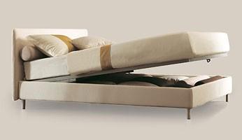 Astro, Cama individual con estructura de madera, pies de aluminio