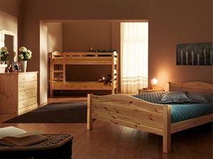 Bastia cama, Cama de madera de abeto, estilo rústico