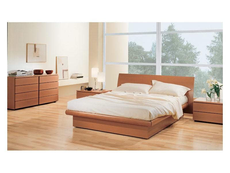 Bedroom 36, Dormitorio con cama de caja de almacenamiento, en madera de nogal Tanganyika, concordable con cajonera y mesitas de noche