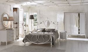 Caruso, Cama doble en aluminio, para los cuartos clásicos