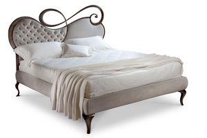 Chopin letto, Cama doble, marco de madera, cabecera tapizada