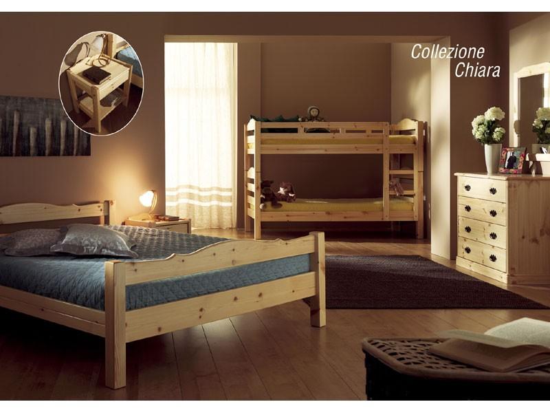 Collection Chiara, Cama de madera de pino rústico, de chalets
