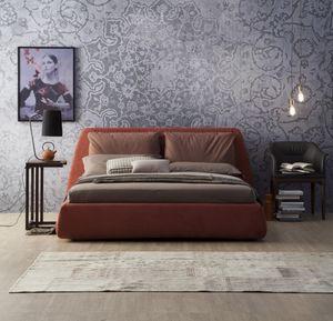 DHARMA, Cama tapizada, con una gran cabecera con cojines