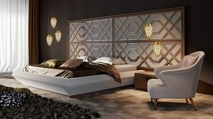 Intrigue cama con cabecero horizontal grande, Cama con cabecera elegante, adaptable en acabados