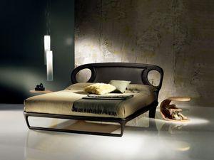 LE14B Iride cama, Cama doble tapizada en piel, líneas sinuosas