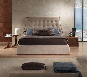 LE23 cama Contemporary, Cama en madera de nogal Canaletto, tapizado