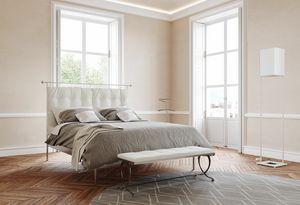Mozart, Hierro cama doble moderna con cabecero tapizado