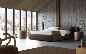 Oriente, Cama tapizada, cabecera plegable, para el dormitorio