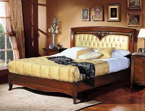 Praga cama, Cama clásica de lujo, cabecero tapizado moñudo