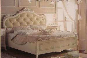 Priori, Cama clásica de lujo para hoteles, decoración de hojas de plata