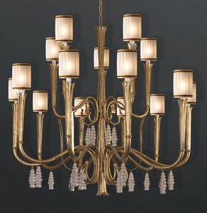 RIALTO HL1059CH-15, Lampdario en hierro con colgantes de cristal.