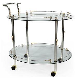 948, Carrito de comida con estantes de vidrio templado.