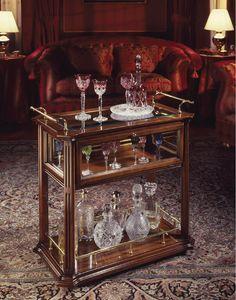 Oxford Art.507 carro de barras, Bar carro en madera de nogal, con estantes de madera y cristal