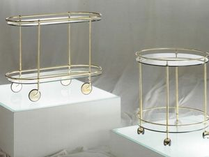 Teseo carrelli, La compra de metal oval con ruedas, tapa de cristal