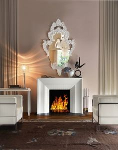 Art. VL411, Elegante chimenea en madera blanca