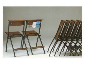 1273 R, Sesiones de metal, con asiento y respaldo en madera de haya