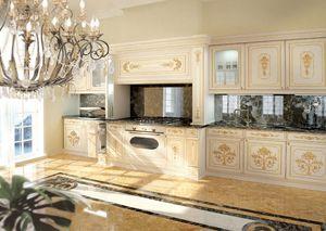 KT201, Blanco cocina de lujo clásico lacado con decoraciones de oro