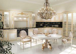 KT262, Cocina en blanco y oro pintado, tapas de mármol negro