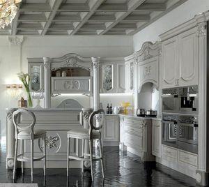 Luigi XVI cocina, Muebles de cocina con detalles refinados y preciosos.