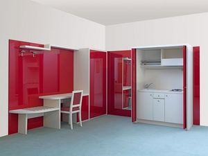 Cherry collection, dos habitaciones muebles plano, hideable incorporado en la unidad de cocina, mobiliario de hotel Hoteles residenciales