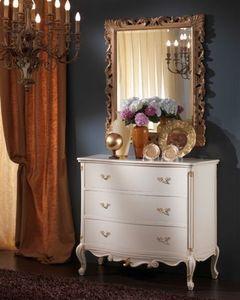 3515 COMO', Pecho blanco de cajones adecuado para dormitorios clásicos
