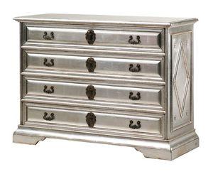 Angelico RA.0754, Pecho madera Ebonized de los cajones, con 4 cajones, en color plata, para ambientes de estilo clásico y lujoso
