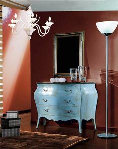 Arcobaleno cajonera, Cómoda clásica, lacada en azul claro