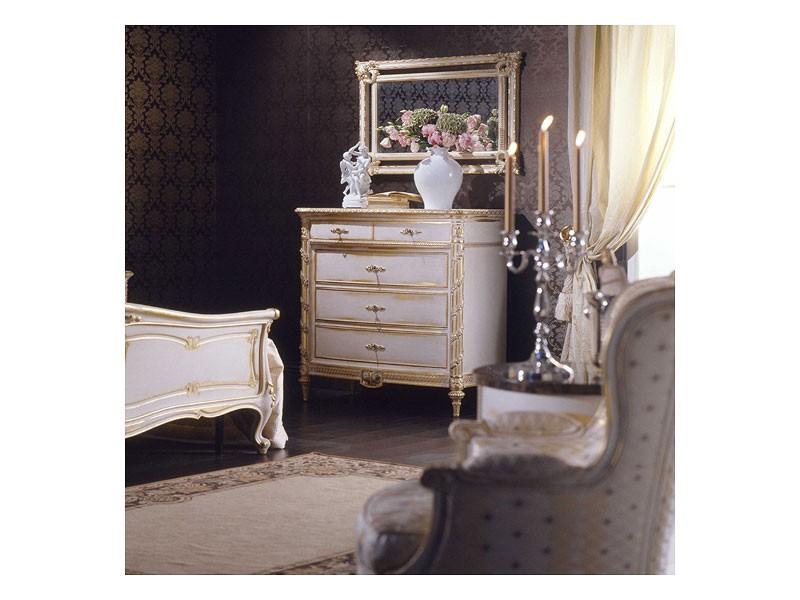 Art. 2001 chest of drawers, Cómoda clásica, acabado en blanco en la hoja de oro, para villas de lujo