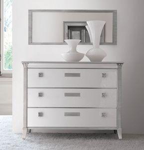 Art. 309 Vivre pecho de cajones, Comoda lujo clásico, blanco lacado brillante