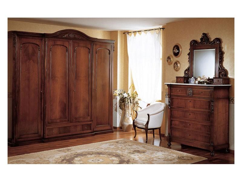 Art. 973 chest of drawers '800 Siciliano, Pecho viejo estilo con cajones, en madera decored, para el dormitorio