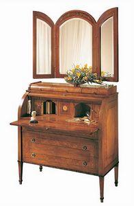C179 Renoir bureau, Oficina con solapa, en madera de nogal maciza, de estilo clásico y lujoso