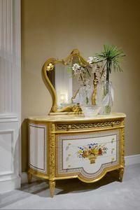 Cajonera 3702 estilo Luis XVI, Cajonera con detalles tallados
