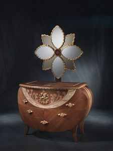 CO18 Vanity, Tocador con espejo, nogal, la decoración de hojas de oro y cobre