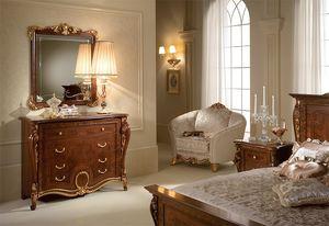 Donatello pecho con cajones, Cómoda en madera tallada, de estilo neoclásico de lujo, para el dormitorio
