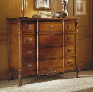 Fenice pecho de cajones, Cómoda clásica en madera de nogal, tallas hechas a mano